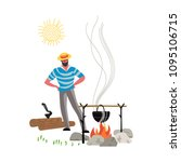 campfire meal cooking icon... | Shutterstock .eps vector #1095106715