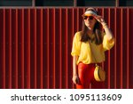 cool urban summer fashion woman ... | Shutterstock . vector #1095113609
