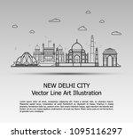 line art vector illustration of ... | Shutterstock .eps vector #1095116297
