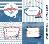 set of 4 nautical cards | Shutterstock .eps vector #109511855