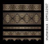 set of vintage gold border...   Shutterstock .eps vector #1095122507