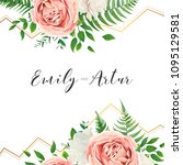 wedding floral invite ... | Shutterstock .eps vector #1095129581