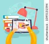 designer draws on the tablet ... | Shutterstock .eps vector #1095131594
