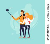 couple doing selfie  traveling. ... | Shutterstock .eps vector #1095134531