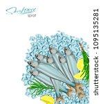 sprat sketch vector fish icon.... | Shutterstock .eps vector #1095135281