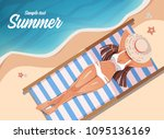 girl sunbathing on a beach mat... | Shutterstock .eps vector #1095136169