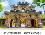 Small photo of The East Gate (Hien Nhon Gate) to the Citadel with the Imperial City in Hue, Vietnam. The colorful gate is a popular tourist attraction of Hue.