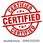 certified round red grunge stamp | Shutterstock .eps vector #1095152255