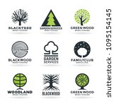 tree logo design with stylized... | Shutterstock .eps vector #1095154145