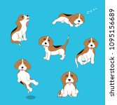 set of various poses cartoon... | Shutterstock .eps vector #1095156689