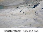 The white terraces at Pumakkale in Turkey - stock photo