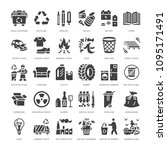 recycling flat glyph icons....   Shutterstock .eps vector #1095171491