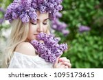 beautiful woman with lilac...   Shutterstock . vector #1095173615