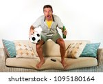 young happy attractive football ... | Shutterstock . vector #1095180164