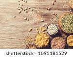 various dried legumes high... | Shutterstock . vector #1095181529