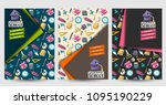 back to school set of flyers.... | Shutterstock .eps vector #1095190229