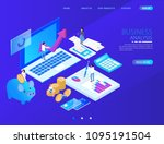 isometric accountant workspace... | Shutterstock .eps vector #1095191504