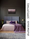 violet blanket on bed with... | Shutterstock . vector #1095197441