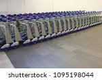 baggage carts  airport luggage... | Shutterstock . vector #1095198044