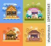 exotic beach bar set. summer...   Shutterstock .eps vector #1095205565