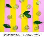 sliced fresh lime on pastel... | Shutterstock . vector #1095207947