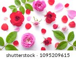 Stock photo floral pattern made of pink and red roses green leaves branches on white background top view 1095209615