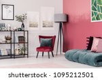 emerald green futon with pink... | Shutterstock . vector #1095212501
