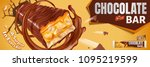 chocolate bar flying out from... | Shutterstock .eps vector #1095219599