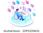 programmer and engineering... | Shutterstock .eps vector #1095220631