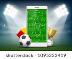 soccer field on smartphone... | Shutterstock .eps vector #1095222419