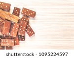 wooden domino pieces. table top ... | Shutterstock . vector #1095224597