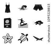 marine fauna icons set. simple...   Shutterstock . vector #1095228815