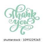 thank you hand drawn text.... | Shutterstock .eps vector #1095229265