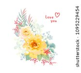 floral decor with yellow roses  ... | Shutterstock .eps vector #1095229454