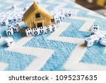 miniature house model with ... | Shutterstock . vector #1095237635