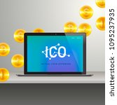 ico  laptop with abstract ico... | Shutterstock .eps vector #1095237935