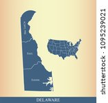 delaware county map with names... | Shutterstock .eps vector #1095239021