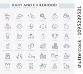 baby icons with inscriptions.... | Shutterstock .eps vector #1095239531