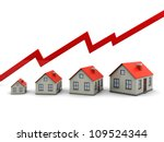 red graph and houses  growth in ... | Shutterstock . vector #109524344