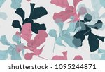 floral seamless pattern  green  ... | Shutterstock .eps vector #1095244871