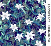 seamless pattern with paisley... | Shutterstock .eps vector #1095252095