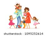 large family with many children.... | Shutterstock .eps vector #1095252614