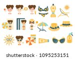 woman tanning and using skin... | Shutterstock .eps vector #1095253151