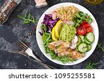 healthy dinner. buddha bowl... | Shutterstock . vector #1095255581