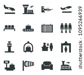 black vector icon set airport... | Shutterstock .eps vector #1095266939