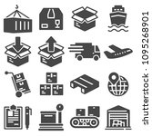 shipping and logistics icons... | Shutterstock .eps vector #1095268901