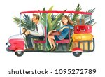 watercolor red electric car... | Shutterstock . vector #1095272789