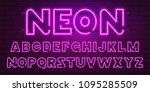80 s purple neon retro font....   Shutterstock .eps vector #1095285509