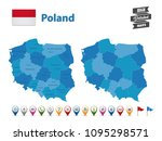poland   high detailed map with ... | Shutterstock .eps vector #1095298571