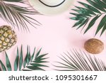 summer composition. tropical... | Shutterstock . vector #1095301667